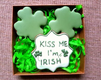Kiss Me I'm Irish Gift Box, Homemade Gingerbread Cookies Decorated with Royal Icing, Happy St. Patrick's Day, Gift Box for Patrick