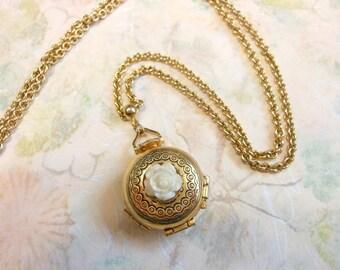 Vintage Romantic Locket Necklace,Photo Necklace,Upcycled Photo Locket,Rose Locket Necklace