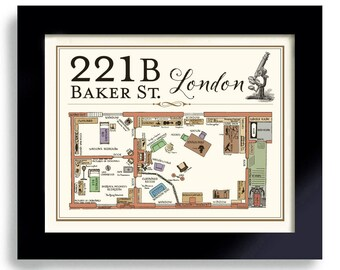 Sherlock 221B Baker Street Sherlock Holmes London Flat I am Sherlocked Geekery British Art Print London England Mystery Detective Dr Watson