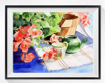 Floral Still life ,Flowers, Potted Begonia, Begonias, Floral watercolor painting, Original Watercolors, Teapot, Orange, Green, Blue, 14x19