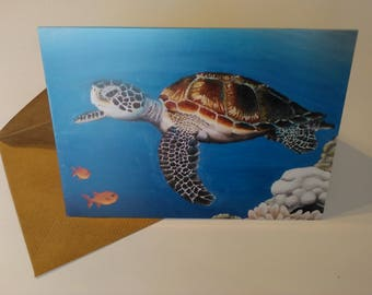 Turtle - Greeting Card with Envelope in Cellophane Wrapping