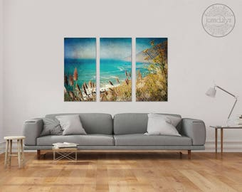 big sur art on canvas - large canvas wall art - triptych wall art   - large canvas prints - pacific coast wall art