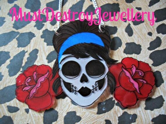 Sugar Skull Necklace, Unique gift for Bridesmaid Rockabilly Wedding, Dia de los Muertos jewellery, Birthday gift ideas, Halloween accessory