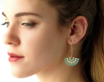 Statement earrings,  Long earrings, Turquoise and gold earrings, Unique jewelry women, Long gold earrings, Long beaded earrings, Fan earring