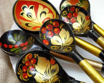 ESTATE SALE - Vintage Russian Lacquered Khokloma Instant Spoon Collection - Set of 6