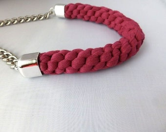 Mothers Day Gift, Gift For Mum, Gift For Woman, Gift for Sister, Pink Necklace, Statement Necklace, Big Necklace, Woven Braided Necklace