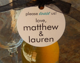 "50 Mini Wine or Champagne Bottle Custom 2"" Favor Tags - For Wedding or Engagement - Anniversary or Vow Renewal - Please Toast Us Tags"