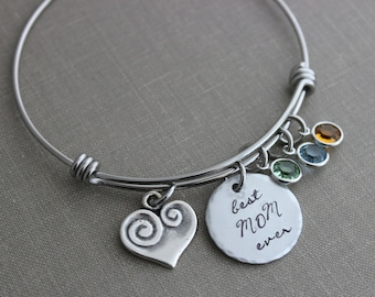 best mom ever, stainless steel wire bangle, Hand stamped aluminum disc, Swarovski crystal birthstones mom heart charm nana Mother's Day gift