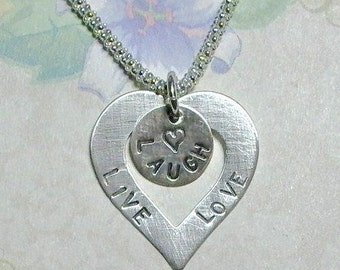Live Laugh Love Necklace, Live Laugh Love Hand Stamped Sterling Silver Heart Washer Necklace