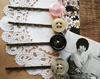 Button Bobby Pin Set, Hair Pins Made With Vintage Pastel Buttons, Retro, Vintage Style Hair Accessories