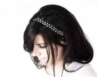 Natural white pearl diadem, Wedding gold headband, Gold pearl diadem, Headband for bride, Wedding white headband, Wedding hair accessory 6