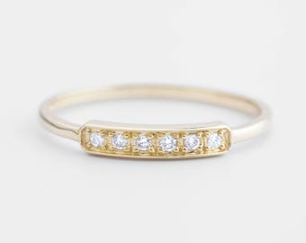 14k gold, white gold, rose gold, pave diamond wedding ring, diamond bar ring,horizontal bar ring, diamond stack rings