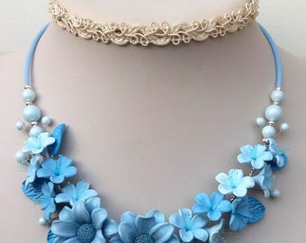 Wedding Necklace, Light Blue Necklace, Flower Necklace, Statement Necklace, Flower Jewelry, Gift For Her, Light Blue Grey Jewelry