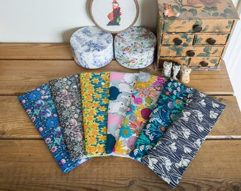 DPN holder, cosy or case for 8 inch dpns made with Liberty tana lawn prints featuring birds, flowers and bunnies, with metal press studs
