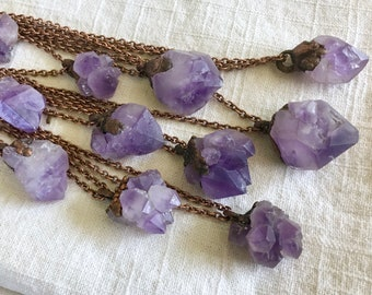 Elestial Amethyst Copper Electroformed Necklace - Archaic Collection