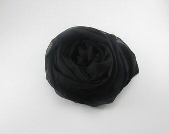 Silk Chiffon Scarf --- Black
