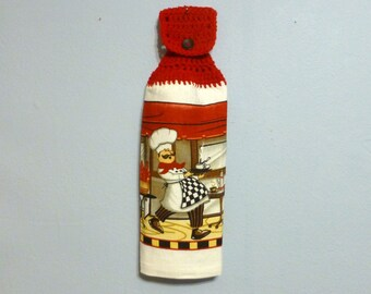 Hanging Kitchen Towel Chef Cook Crochet Top Double Layered Towel