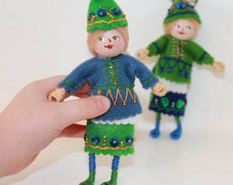 Felt Art Doll or Hanging Ornament Woodland Colors Pixie, Felt Ornaments with hand painted faces