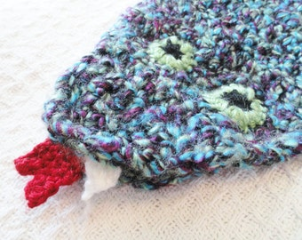 Snake Crocheted Kids Scarf with Fangs and Open Mouth Blue Purple and Green By Distinctly Daisy