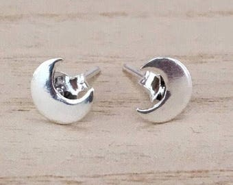 Half moon stud earring, Sterling silver half moon earrings, Stud silver earrings, Moon earrings