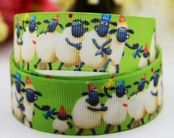 """Sheep Grosgrain 7/8"""" Printed Ribbon"""