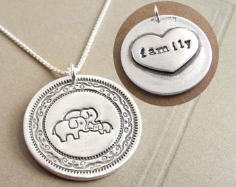 Personalized Elephant Family Necklace, Extra Large Heart Monogram, Mom Dad Baby, Fine Silver, Sterling Silver Chain, Made To Order