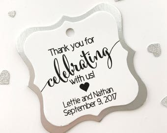 Thank You For Celebrating With Us Favor Tags, Custom Favor Tags, Thank You Custom Wedding Hang Tags  (FS-362-SAF)