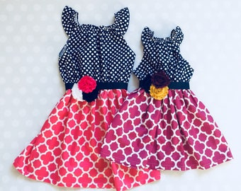 Sister Dresses - Matching Sister Dresses - Sister Easter Dresses - Easter Dresses - Easter - Sibling Dresses - Pink and Purple Dresses