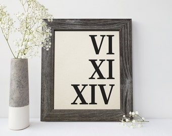 Cotton anniversary gift for men, Roman Numeral Cotton Print, 2nd anniversary gift, 2 year together