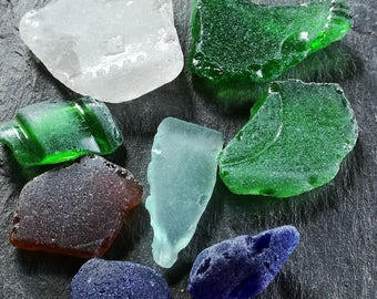 Irish beach sea glass, smooth surf tumbled, home decor, window display, Ireland souvenir.