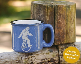 Sasquatch Unicycle Mug - Choose Your Bigfoot Cup Color