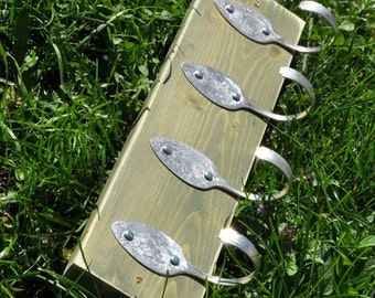 4 Vintage Spoons FUN Green Stained Coat Rack Recycled Silverware