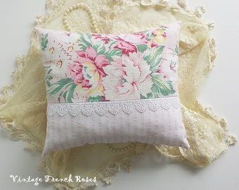 Paris Flea Market Pink Roses Pillow Venetian Lace Ticking Stripe Romantic Cottage Shabby Chic French Country Farmhouse Style Bedroom Nursery