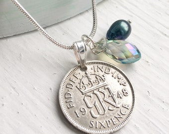 70th Birthday Gift for women, 1948 British Sixpence Necklace, 70th Anniversary Gift, Lucky Sixpence Jewelry, Coin Necklace