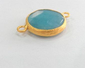 Blue Pendant Connector , Gold Plated Bezel  21 mm. G987