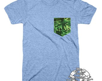 Marijuana Pocket Shirt | Marijuana Pocket | Pocket Unisex | Pocket Tshirt | Womens Pocket Tee | Mens Pockets Tshirt | Pocket Tee