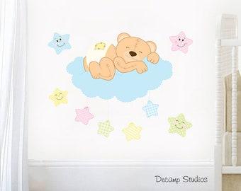TEDDY BEAR CLOUD Decal Nursery Wall Art Neutral Baby Room Decor - Happy Stars - Kids Playroom