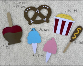 Die Cut Carnival/Fair Food Scrapbook Page Embellishments for Card Making Scrapbook or Paper Crafts