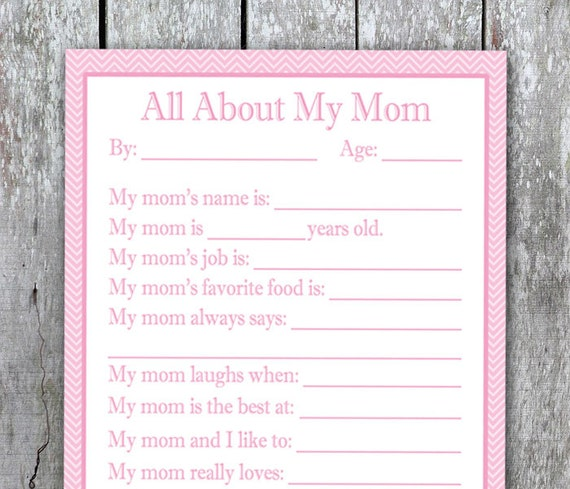 All About My Mom Printable DIY Birthday Gift Printable Gift