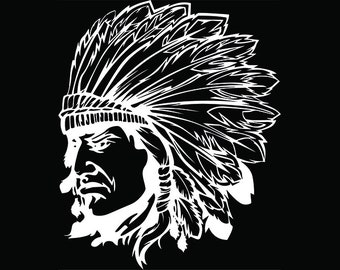 American Indian #14 Native Warrior Headdress Feather Tribe Chief Aztec Mascot Tattoo Logo .SVG .EPS .PNG Clipart Vector Cricut Cut Cutting