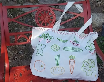 Hand Embroidered Fruits and Veggies Tote