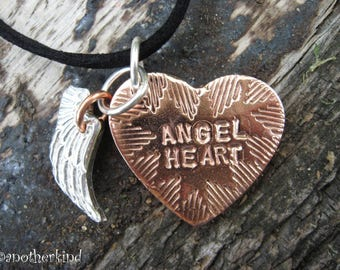 Angel Heart Pendant Copper and Silver