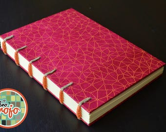 Beautiful handmade journal with cords, spiral stitch, nepalese paper cover.