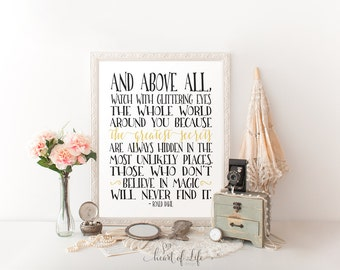 Printable art Roald Dahl quote print Inspirational quote Black and white quote print Glittering eyes quote Typography HEART OF LIFE Design