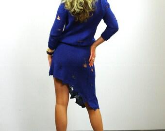 Blue Hand Knitted Dress