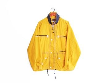 vintage windbreaker / 90s windbreaker / nautical jacket / 1990s yellow and blue nautical windbreaker Large