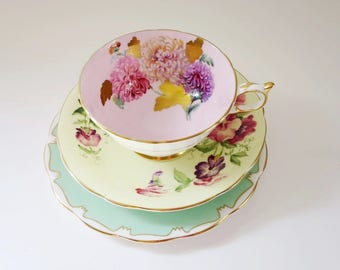 Vintage Tea Cup Trio Mix and Match, Teacup and Saucer, Pastel Pink Green Yellow Mix n Match Teacup Trio, Decor, Gifts, Display