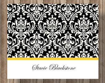 PERSONALIZED DAMASK NOTECARDS / Boxed Set of 10 Folded Notecards for Women/ Black Damask and Your Color Choice of Stripe/ Wedding Thank You