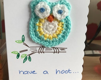 Owl crocheted card
