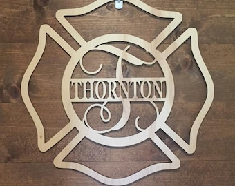 "24"" Wood Maltese Cross Firefighter Fireman Monogram Laser Cutout Shape Unfinished"